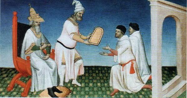 Хубилай вручает братьям Поло золотую дщицу