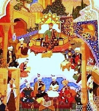 TimurLang._Amir_Temur_Lang_sitting_on_his_throne_and_around.